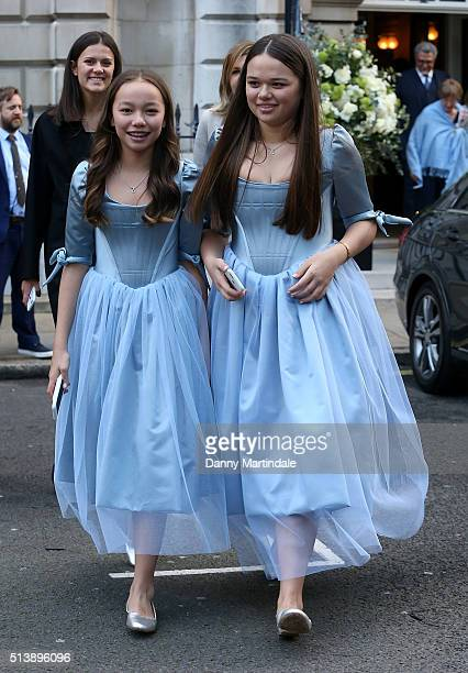 Chloe Murdoch and Grace Murdoch are seen leaving Jerry Hall and Rupert Murdoch wedding reception at Spencer House on March 5 2016 in London England