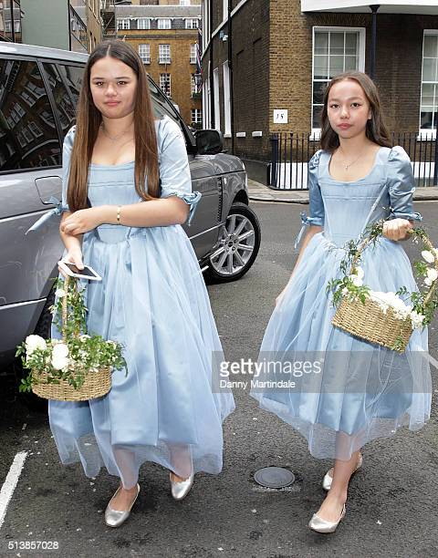 Chloe Murdoch Grace Murdoch arrive at Spencer House for their wedding reception on March 5 2016 in London England