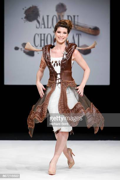 Chloe Nabedian walks the runway during the Dress Chocolate show as part of Salon du Chocolat at Parc des Expositions Porte de Versailles on October...