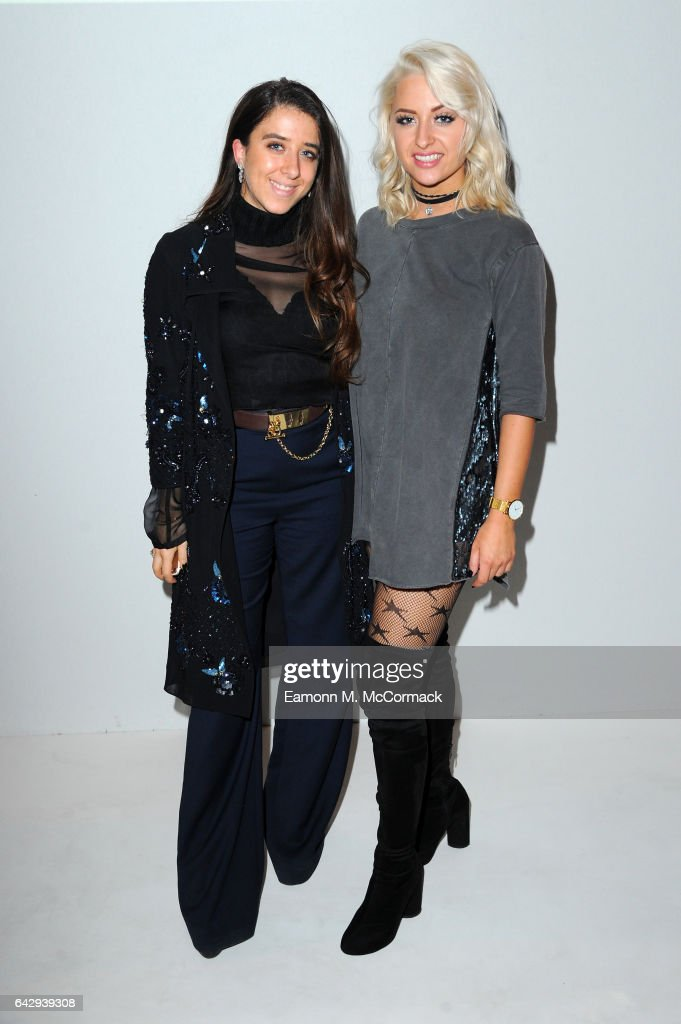 chloe Paige (R) and guest attend the Alexis Carballosa show during the London Fashion Week February 2017 collections on February 19, 2017 in London, England.