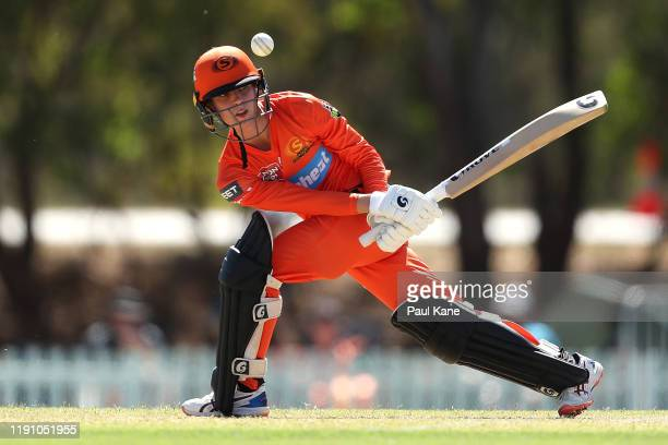 Chloe Piparo of the Scorchers bats during the Women's Big Bash League match between the Perth Scorchers and the Hobart Hurricanes at Lilac Hill on...