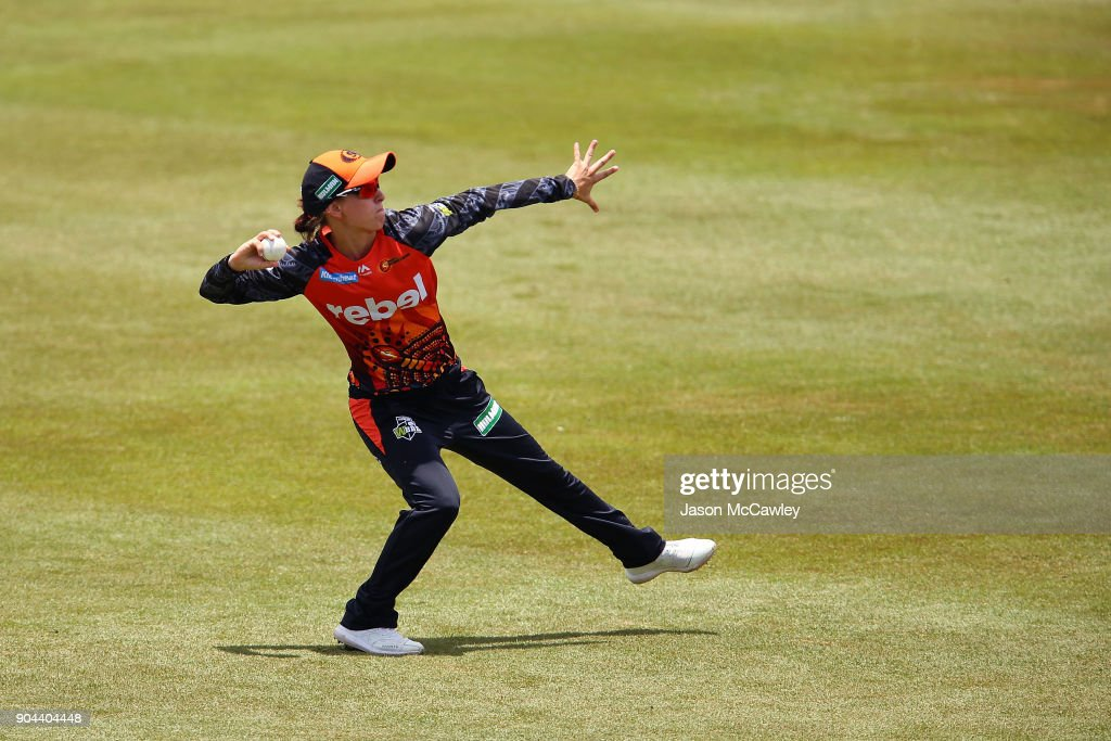 Chloe Piparo of the Scorchers fields during the Women's Big Bash League match between the Adelaide Strikers and the Perth Scorchers at Traeger Park on January 13, 2018 in Alice Springs, Australia.