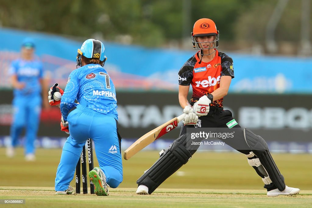 Chloe Piparo of the Scorchers is stumped by Tegan McPharlin of the Strikers during the Women's Big Bash League match between the Adelaide Strikers and the Perth Scorchers at Traeger Park on January 13, 2018 in Alice Springs, Australia.