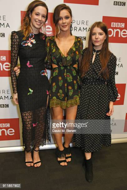 Chloe Pirrie Bella Dayne and AimeeFfion Edwards attend an exclusive preview screening of new BBC One drama Troy Fall Of A City at BFI Southbank on...