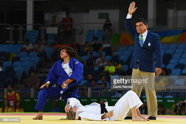 Chloe Rayner of Australia competes against Laetitia Payet of France in the Women's 48 kg Judo on Day 1 of the Rio 2016 Olympic Games at Carioca Arena...
