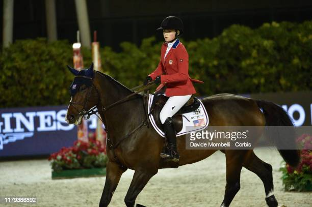 Chloe Reid riding Luis P of United States of America during Longines FEI Jumping Nations Cup Final Challenge Cup on October 5 2019 in Barcelona Spain