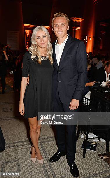 Chloe Roberts and Max Chilton attend The F1 Party in aid of the Great Ormond Street Children's Hospital at the Victoria and Albert Museum on July 2...