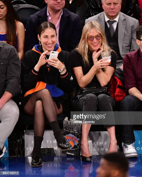 Chloe Sevigny and guest attend New York Knicks Vs Chicago Bulls game at Madison Square Garden on March 17 2018 in New York City
