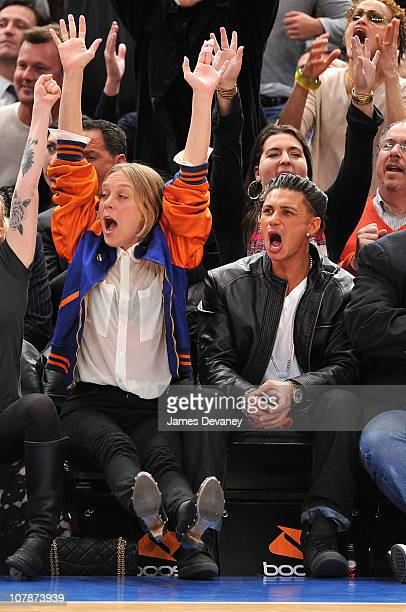 Chloe Sevigny and Paul Pauly D Delvecchio attend the San Antonio Spurs vs New York Knicks game at Madison Square Garden on January 4 2011 in New York...