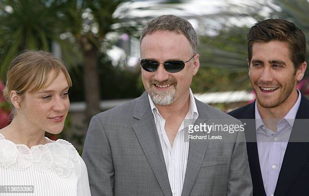 Chloe Sevigny David Fincher and Jake Gyllenhaal during 2007 Cannes Film Festival 'Zodiac' Photocall at Palais de Festival in Cannes France