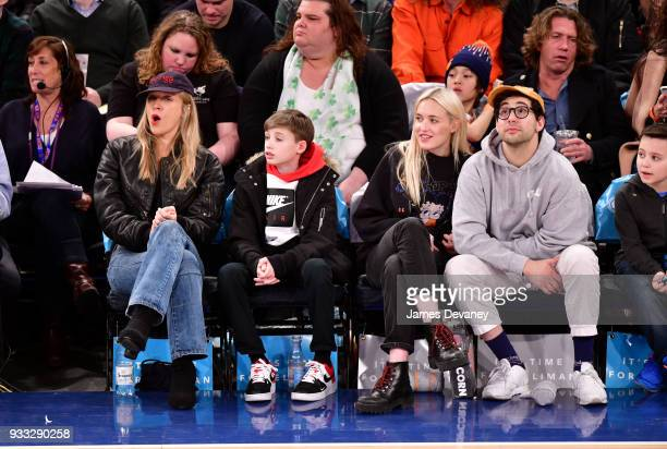 Chloe Sevigny guest Carlotta Kohl and Jack Antonoff attend New York Knicks Vs Charlotte Hornets game at Madison Square Garden on March 17 2018 in New...