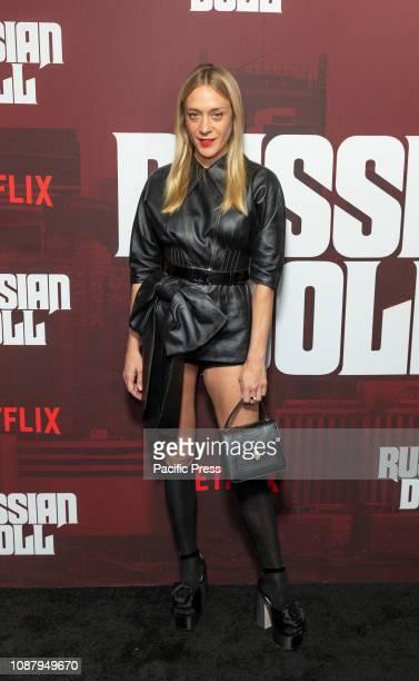 Chloe Sevigny wearing dress by Meu Meu attends Russian Doll TV show season premiere at Metrograph.