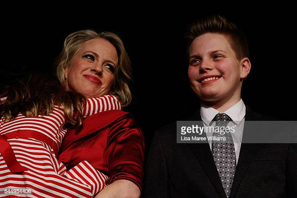 Chloe Shorten and children Clementine and Rupert join Leader of the Labor Party Bill Shorten on stage at Moonee Valley Racing Club on July 2 2016 in...