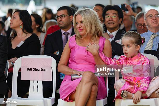 Chloe Shorten and daughter Clementine at the Chinese New Year Lantern Festival at Tumbalong Park on February 12 2016 in Sydney Australia The lighting...