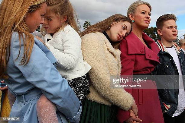 Chloe Shorten and family Alexandra Clementine Georgette and Rupert look on as Leader of the Opposition Australian Labor Party Bill Shorten addresses...