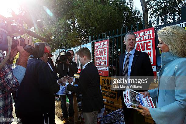 Chloe Shorten and Rupert support Opposition Leader Australian Labor Party Bill Shorten during a visit to a polling booth at Colyton on July 2 2016 in...