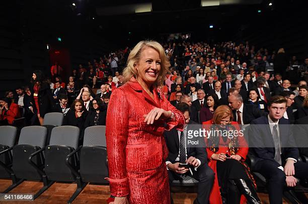 Chloe Shorten arrives for husband Leader of the Opposition Bill Shorten at the Labor campaign launch at the Joan Sutherland Performing Arts Centre as...