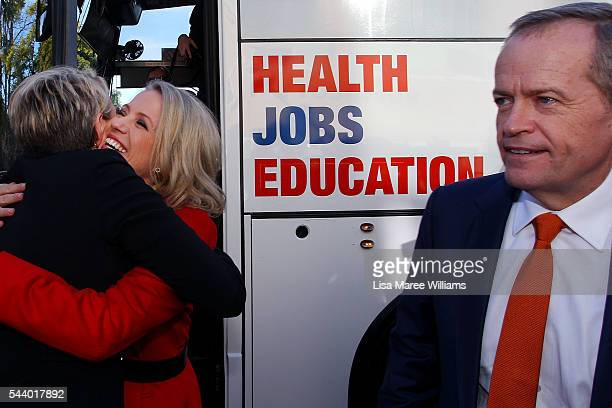 Chloe Shorten greets Deputy Leader of the Opposition Tanya Plibersek as Leader of the Opposition Bill Shorten looks on during a visit to Northcott a...