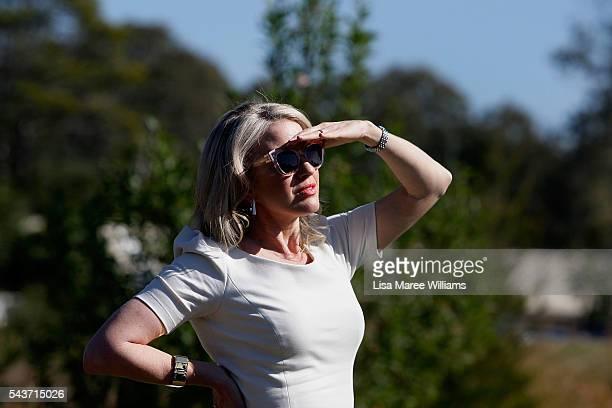 Chloe Shorten looks on as Opposition Leader Australian Labor Party Bill Shorten attends a press conference on June 30 2016 in Logan Australia Bill...