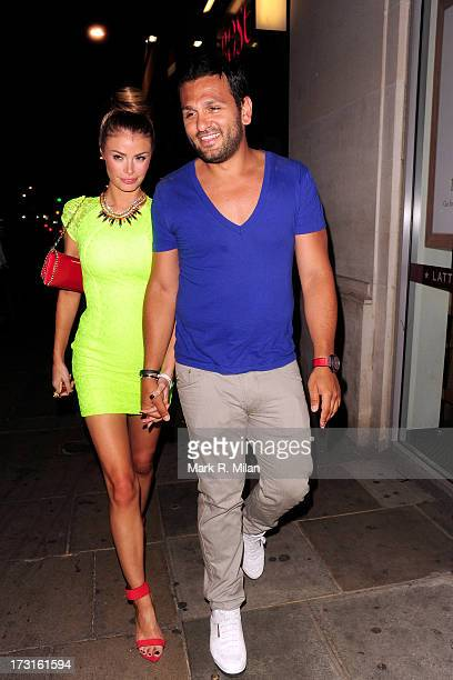Chloe Sims and Joe Fournier at Rose night club on July 8 2013 in London England