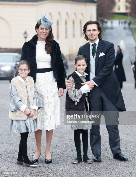 Chloe Sommerlath Maline Sommerlath Anais Sommerlath and Patrick Sommerlath attend the christening of Prince Gabriel of Sweden at Drottningholm Palace...