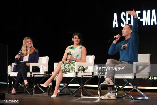 Chloe Sorvino Jessica Iclisoy and Adam Rippon speak during the Forbes 30 Under 30 Summit at Detroit Masonic Temple on October 28 2019 in Detroit...
