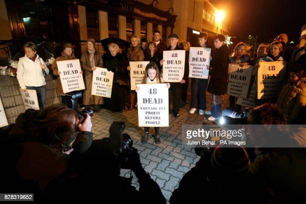 Chloe Tighe and relatives of victims and survivors of the Stardust fire 25 years ago protest on the proposed site of a new bar on the old Stardust...