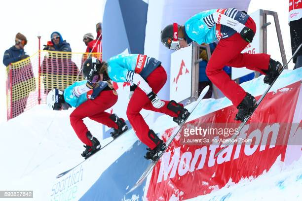 Chloe Trespeuch of France Julia Pereira of France Nelly Moenne Loccoz of France during training during the FIS Freestyle Ski World Cup Men's and...