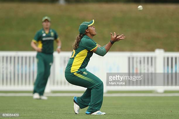 Chloe Tryon of South Africa takes a catch to dismiss Alyssa Healy of Australia during the women's One Day International match between the Australian...