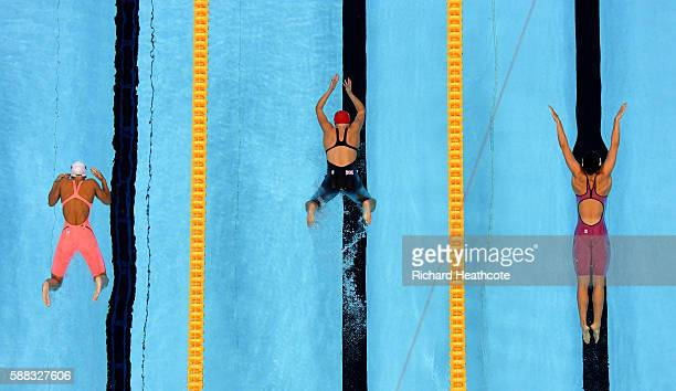 Chloe Tutton of Great Britain competes in the first Semifinal of the Women's 200m Breaststroke on Day 5 of the Rio 2016 Olympic Games at the Olympic...