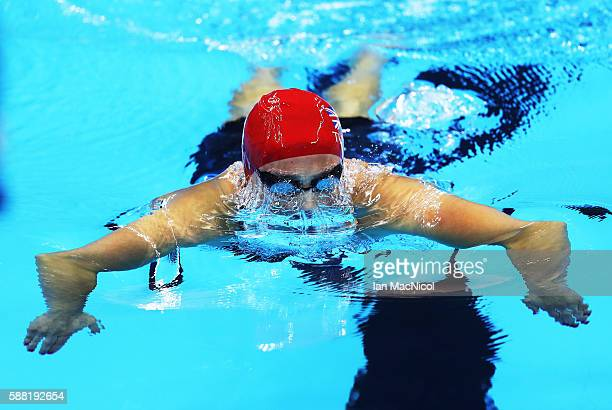 Chloe Tutton of Great Britain competes in the heats of the women's 200m Breaststroke on Day 5 of the Rio 2016 Olympic Games at the Olympic Aquatics...