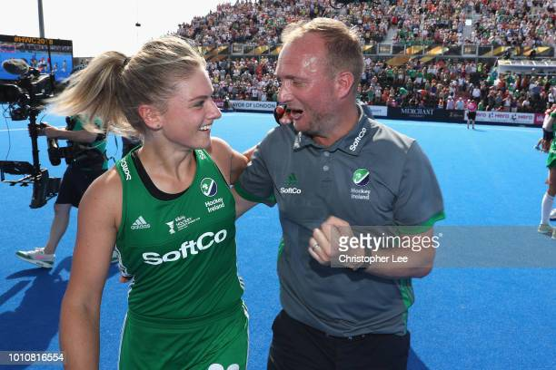 Chloe Watkins of Ireland and Graham Shaw of Ireland celebrate their victory during the SemiFinal game between Ireland and Spain of the FIH Womens...