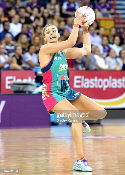 Chloe Watson of the Vixens in action during the round five Super Netball match between the Firebirds and the Vixens at Brisbane Entertainment Centre...