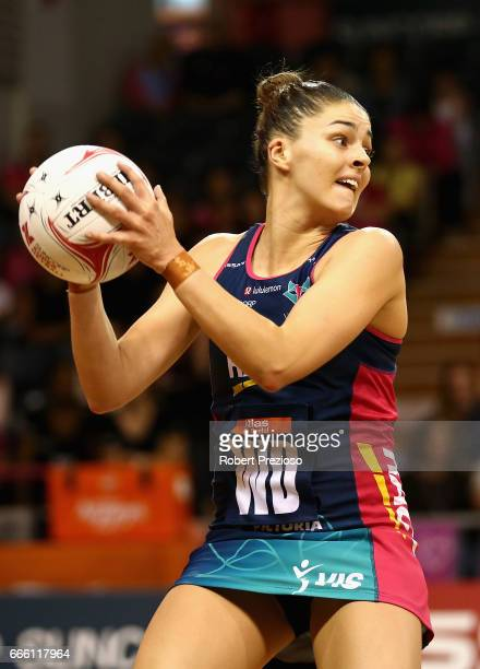 Chloe Watson of the Vixens looks to make a pass during the round eight Super Netball match between the Thunderbirds and the Vixens at Priceline...