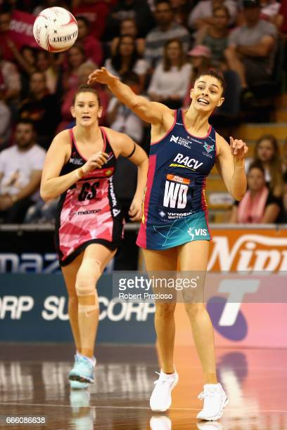 Chloe Watson of the Vixens makes a pass during the round eight Super Netball match between the Thunderbirds and the Vixens at Priceline Stadium on...