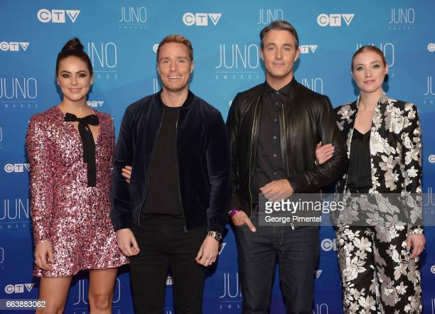 Chloe Wilde Devon Soltendieck Ben Mulroney and Liz Trinnear arrive at the 2017 Juno Awards at Canadian Tire Centre on April 2 2017 in Ottawa Canada
