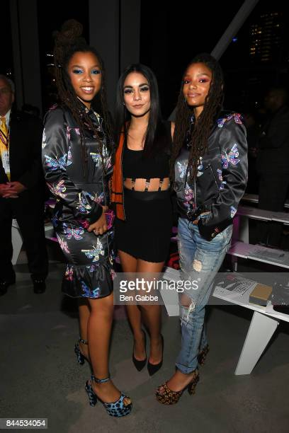 Chloe x Halle and Vanessa Hudgens attend the Jeremy Scott Fashion Show during New York Fashion Week at Spring Studios on September 8 2017 in New York...