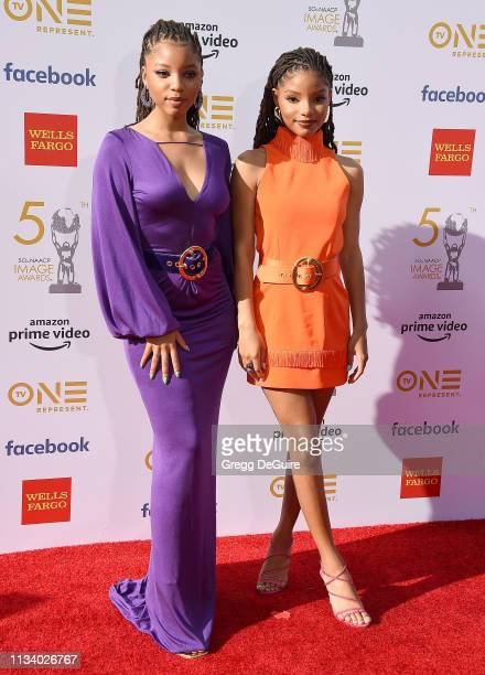 Chloe x Halle arrive at the 50th NAACP Image Awards at Dolby Theatre on March 30 2019 in Hollywood California