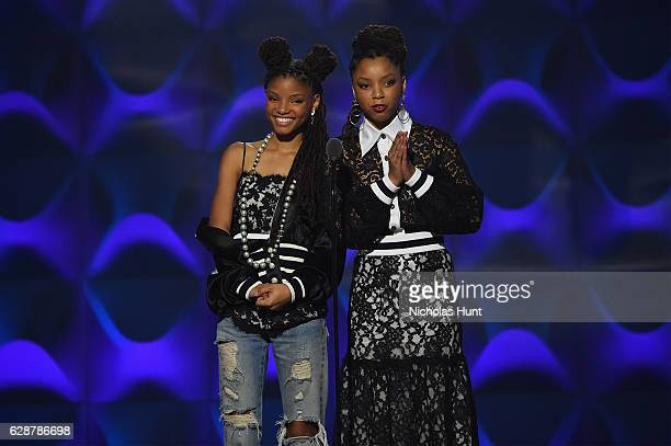 Chloe X Halle present on stage at the Billboard Women in Music 2016 event on December 9 2016 in New York City