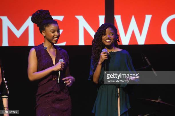 Chloe x Halle speak onstage at Refinery29's Newfronts presentation OUR PARTY IS WOMEN on May 3 2017 in New York City
