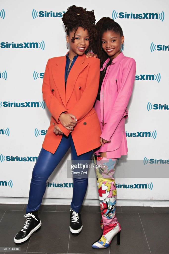 Chloe X Halle visit the SiriusXM Studios on February 20, 2018 in New York City.