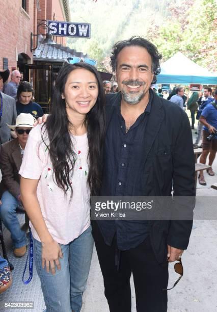 Chloe Zhao and Alejandro Gonzalez Inarritu attend the Telluride Film Festival 2017 on September 3 2017 in Telluride Colorado