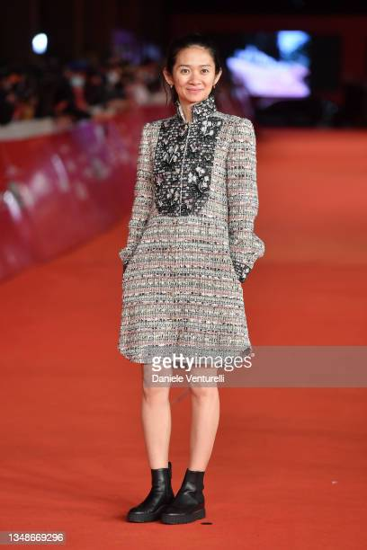 """Chloe Zhao attends the red carpet of the movie """"Eternals"""" during the 16th Rome Film Fest 2021 on October 24, 2021 in Rome, Italy."""
