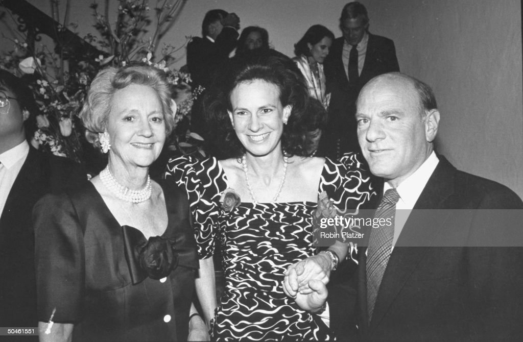 Chmn. of WASHINGTON POST Katharine Graham (L) posing w. her daughter/author, Lally Weymouth & Chmn. of 20th Century Fox Barry Diller at NEW NEW YORK magazine's anniversary party.