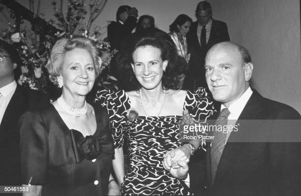 Chmn of WASHINGTON POST Katharine Graham posing w her daughter/author Lally Weymouth Chmn of 20th Century Fox Barry Diller at NEW NEW YORK magazine's...