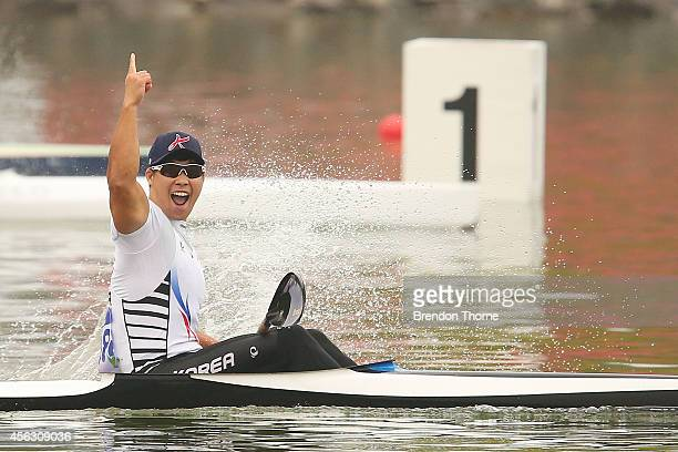 Cho Gwanghee of South Korea celebrates claiming the Gold medal in the Men's K1 200m Final during day ten of the 2014 Asian Games at Hanam Misari...