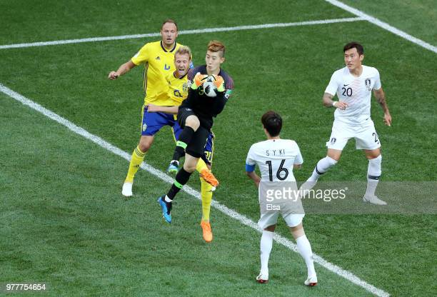 Cho HyunWoo of Korea Republic jumps to make a save during the 2018 FIFA World Cup Russia group F match between Sweden and Korea Republic at Nizhniy...