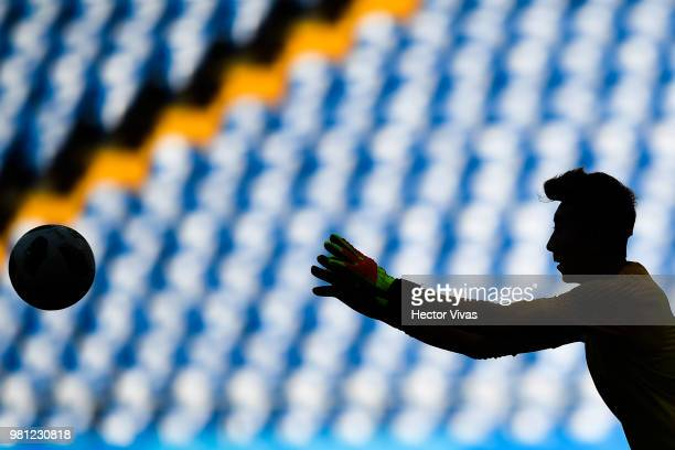 Go YoHan of South Korea controls the ball during a training and press conference ahead of the match against Mexico as part of FIFA World Cup Russia...