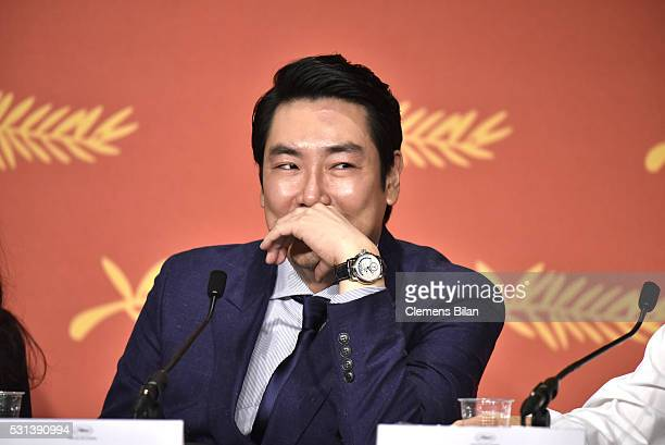Cho JinWoong attends The Handmaiden press conference during the 69th annual Cannes Film Festival at the Palais des Festivals on May 14 2016 in Cannes...
