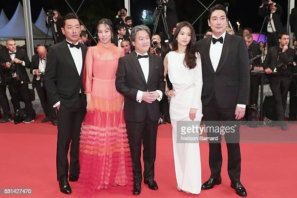 Cho Jinwoong Kim MinHee Park Chanwook Kim TaeRi and Jo JingWoong attend The Handmaiden premiere during the 69th annual Cannes Film Festival at the...